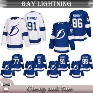 Wholesale New Tampa Bay Lightning Hockey Jersey 91 Steven Stamkos 86 Nikita Kucherov 77 Victor Hedman Blank Blue Jersey Cheap and fine Hockey Jersey