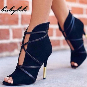 2019 New Women High Heels Fashion Woman Faux Suede Pumps Sexy Open Toe Ankle Boots Slip on Deep V Cut High Heel Lady Autumn Shoe
