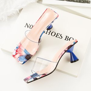Hot2019 In Transparent High Coarse With Toe Temperament Cool Slipper Woman Summer Outside Clothes Sandy Beach Single Shoe