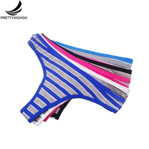 Wholesale Prettywowgo New Arrival Sexy G String Thong Women Striped Cotton Underwear