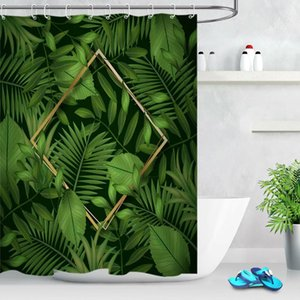 Tropical Green Leaves Waterproof Fabric Shower Curtain Set Bathroom Hooks Custom