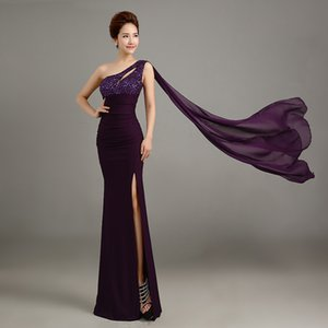 Wholesale New ball dress Bride toast elegant purple one shoulder evening dress Long style self cultivation presided over the performance Prom Dresses