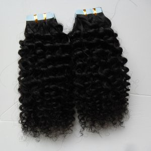 Wholesale kinky curly Skin Weft Human 100G 40PCS Tape In Human Hair Blonde Invisible Black Real Hair 1 bundle Remy Hair Brown