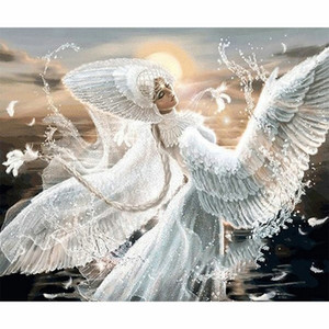 Wholesale diy diamond painting angel resale online - 5D DIY full diamond painting beautiful angel picture arts round or square drill diamond embroidery cross stitch kits home decoration gift