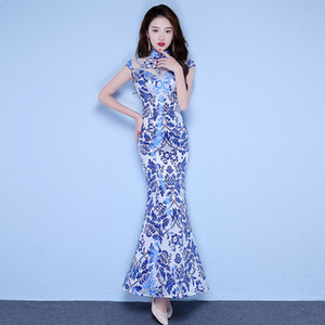 Wholesale Vintage Chinese Style Wedding Dress Retro Toast Clothing Long Gown Marriage Cheongsam Qipao Party Evening Dress Vestidos Clothes