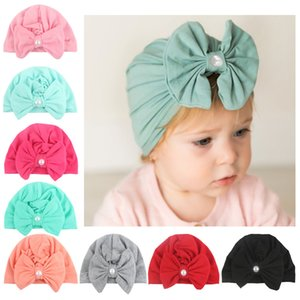Wholesale cute Pearl Bowknotted Indian Hat Bandanas baby girls kids turban headband hairbands accessories for children headwrap