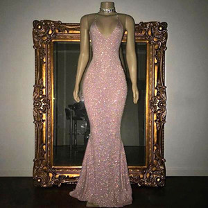 Stunning Rose Pink Sequined Prom Dresses Sexy Spaghetti Straps Mermaid Sleeveless Evening Gowns 2019 real photos on Sale