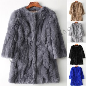 Wholesale Ethel Anderson Real Rabbit Fur Coat Women s O Neck Long Rabbit Fur Jacket Sleeves Vintage Style Leather Fur Outwear SH190925