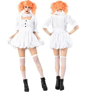 Wholesale Halloween Ghost Doll Clown Costume Adult Cos Costume White Dress Vampire Ghost Bride