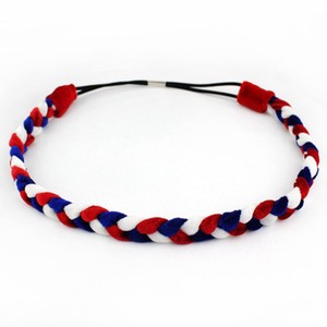 Wholesale 2019 American July th For Festival Women Red White Blue Velvet Braided Elastic Headband DIY Hair Accessories Patriotic