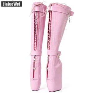Wholesale Pink NEW Women Sexy High Boots cm Wedges Pony Heelless Sole Lockable Zipper padlocks Knee High Ballet Boots SM Unisex Costume ball Shoes
