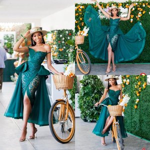 Wholesale 2020 Hunter Green Evening Dresses With Detachable Train Appliqued Front Split Prom Dress Arabic Tea Length Plus Size Formal Party Gowns