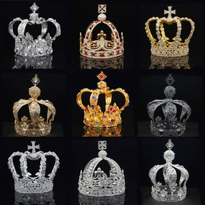 Wholesale kings crowns resale online - Royal Queen King Tiaras Crown Men Round Diadem Bridal Tiaras and Crowns Headdress Prom Wedding Hair Jewelry Party Ornament Male Y200727