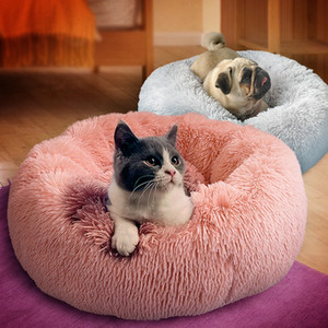 Wholesale Plush Dog Cat Bed Warm Dog House Soft Round Pet Bed Cat Sleeping Beds Kennel Dog Puppy Sofa For Small Medium Dogs Chihuahua