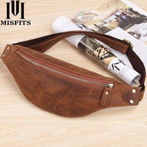 Wholesale waist bag small for men for sale - Group buy Quenya men waist bag genuine cow leather vintage small fanny pack male waist pack travel chest bag for cell phone belt man