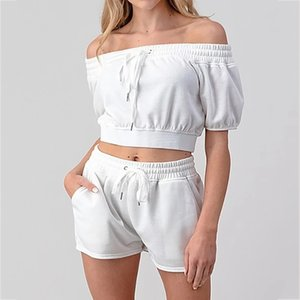 Wholesale two piece lace off shoulder top for sale - Group buy Summer Two Piece Set Fitness Matching Set Sportwear Off Shoulder Drawstring Crop Top Lace Up Short Sets for Women Piece Outfit