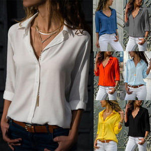 Fashion Women Blouse Long Sleeve V-neck T Shirt Solid Color Button Chiffon Blouses Turn-down Collar Shirts Tops Female Blusas Clothes S-3XL