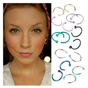 Wholesale nose piercings hoops resale online - New Trendy Nose Rings Body Piercing Jewelry Fashion Stainless Steel Nose Hoop Ring Earring Studs Fake Nose Rings Non Piercing Rings