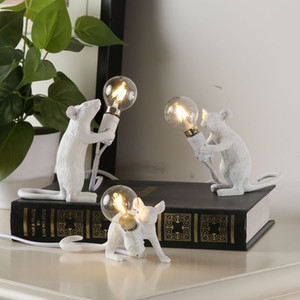 Creative Resin Animal Rat Mouse Table Lamp Small Mini Mouse Cute LED Night Lights Home Decor Desk Lights Bedside Lamp EU AU US UK Plug
