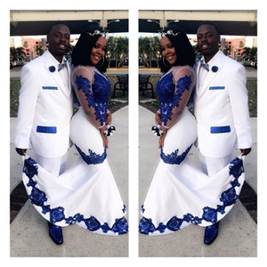 Wholesale New White Satin Royal Blue Lace Aso Ebi African Prom Dresses Long Illusion Sleeves Applique Evening Formal Gowns Pageant Celebrity Dress
