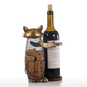 Tooarts Cat Wine Rack Cork Container Bottle Wine Holder Kitchen Bar Display Metal Craft Gift Handcraft Animal Stand
