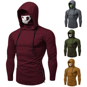 Cool Mens Casual Long Sleeve Masked Hoodies Sweatshirt Zipper Pullover Jumper Tops with Skull Mask Outdoor Biking Clothes