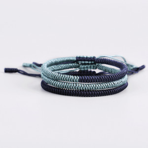 Wholesale 2019 Fashion Style Handmade Jewelry Adjustable Mens High Quality Green Dark Blue Rope Bracelet with Free Gift