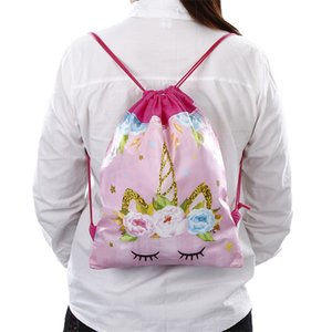 Wholesale Hot Sale Styles Unicorn Drawstring bag for Girls Travel Storage Package Cartoon School Backpacks Children Birthday Party Favor