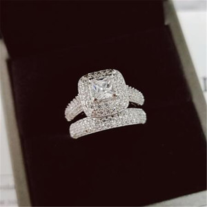 Wholesale white gold engagement simulated diamond resale online - Vecalon Topaz Simulated diamond cz KT White Gold Filled in Engagement Wedding Band Ring Set for Women Sz