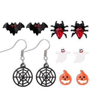 Christmas Halloween Stud Earring Set Women Bat Pumpkin Lamp Spider Web Ghost specter Pendant Ear Studs Wholesale Jewelry