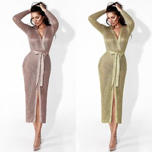 Wholesale women designer maxi dresses clothes hot sale rose gold knit jacket Europe and America sexy hollow cardigan long coat