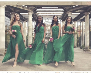 Wholesale Hot Sale Emerald Green Cheap Bridesmaid Dresses Chiffon Strapless Empire Side Split Ruched Wedding Guest Evening Homecoming party Dress