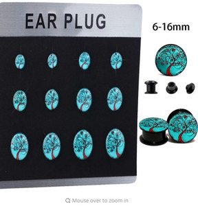 Wholesale Acrylic UV LOGO Ear Gauges Flesh Tunnels Plugs Stretcher Expander Tragus Earring Body Piercing Jewelry Mix MM