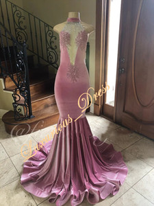 Wholesale New Design Sexy High Neck Velvet Mermaid Prom Dresses 2019 Lace Appliqued Long Party Evening Wear Gowns Beading Graduation Dresses