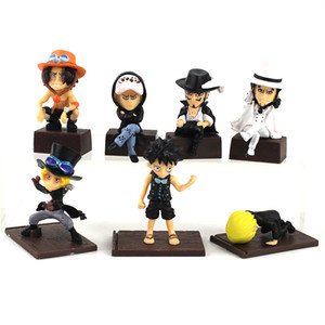 Wholesale one piece figure set sanji resale online - 7pcs set Japan Anime Q Version one piece Luffy Ace Sanji Trafalgar Law Mihawk PVC action figure model toy