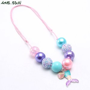 Wholesale MHS SUN Fashion Mermaid Tail Pendant Baby Chunky Beaded Necklace Adjustable Rope Jewelry For Kids Girls Bubblegum Necklace PC