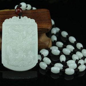 Wholesale natural xinjiang white jade resale online - Natural xinjiang white jade Dragon Pendant Genuine White Jade Dragon Pendant Men and Women Necklace Gift Pendant