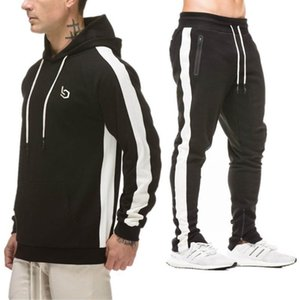 Nice Mens Sets 2 Pieces Sweatsuits Mens Tracksuit Pullover Hoodie And Pants Strips Hooded Sweatshirt Sportswear Mens Clothing on Sale
