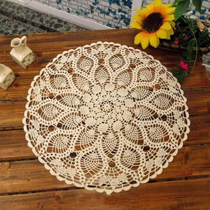 Wholesale crochet round cloths resale online - 60cm Cotton Hand Crochet Round Lace Hollow Out Tablecloth Decorative Table Cloth Wedding Party Table Cover