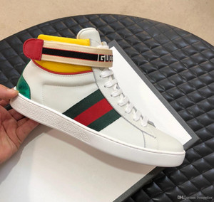 Italy Stripe Ace Luxury Fashion Designer Mens Casual Sneakers Sports Shoes Jacquard Stripe Strap genuine Leather Lace Up Boys Trainers