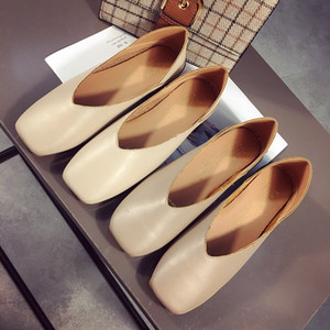 Wholesale pedal single for sale - Group buy Hot Sale Leather Genuine Shallow Mouth Single Soft Square Women s Shoes Two Clothes One Pedal Flat Bottom Grandma Shoe