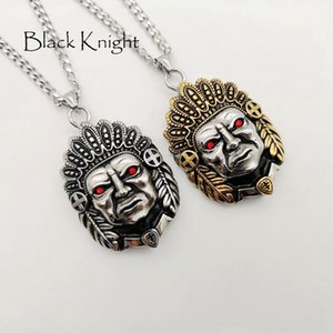 tribu indienne achat en gros de-news_sitemap_homeBlack Knight en acier inoxydable collier Indian Tribe Leader pendentif mens cool collier de mode Ethnic Tribe Leader BLKN0781
