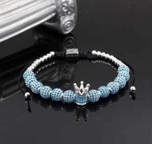 Wholesale 2019 Fashion Men Micro Pave CZ Cubic Zircon Jewelry Charm Of The Crown And mm Full Zircon Beads Braided Bracelet Female pulseira macrame