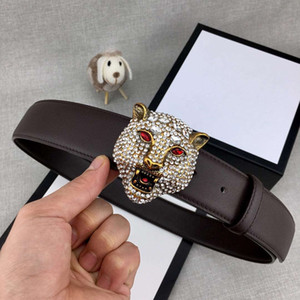 Wholesale Fashionable Diamond Brass Tiger Head Designer Belts Luxury Belts G Mens Woman Belt Casual Smooth Buckle Width mm High Quality with Package
