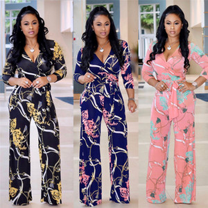 Wholesale sexy ladies deep V neck personality irregular ruffled jumpsuits fashion female print long sleeve rompers with belt women slim jumpsuit