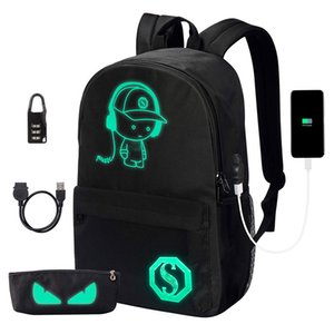 College School Backpack Anime Luminous Laptop Backpack with USB Charging Port ,Anti Theft Lock and Pencil Case for Teen Boys and Girls