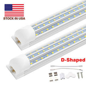 T8 Integrated 8FT LED Tube Light Bulb 120W 12000LM Triple Side D Shape Integrated 8 Foot LED Light Fixtures 8' LED Shop Lighting