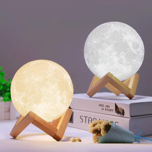 Wholesale 3D LED Night Magical Moon LED Light Moonlight Lamp USB Rechargeable D Light Colors Stepless for Home Decoration Christmas lights