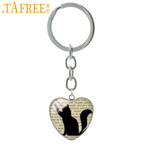 TAFREE Old Newspaper And Black Cat Silhouette Heart Keychain Elegant Fashion Key Chain Car Bag Pendant Key Rings Jewelry HP114