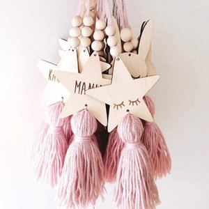 Wholesale photography wood resale online - Nordic Style Cute Star Shape Wooden Beads Tassel Pendant Kids Room Decoration Wall Hanging Ornament for Photography
